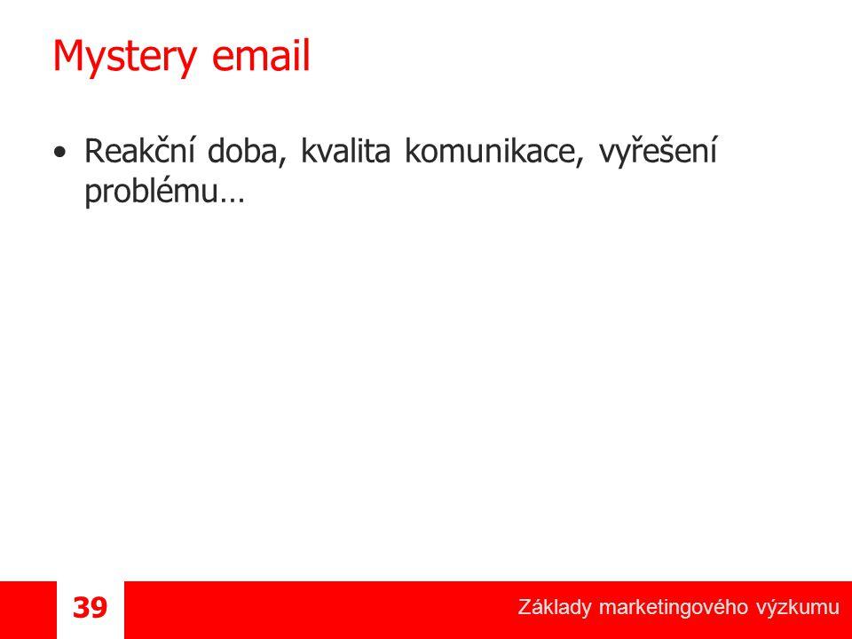 Mystery email Reakční doba, kvalita komunikace, vyřešení problému…