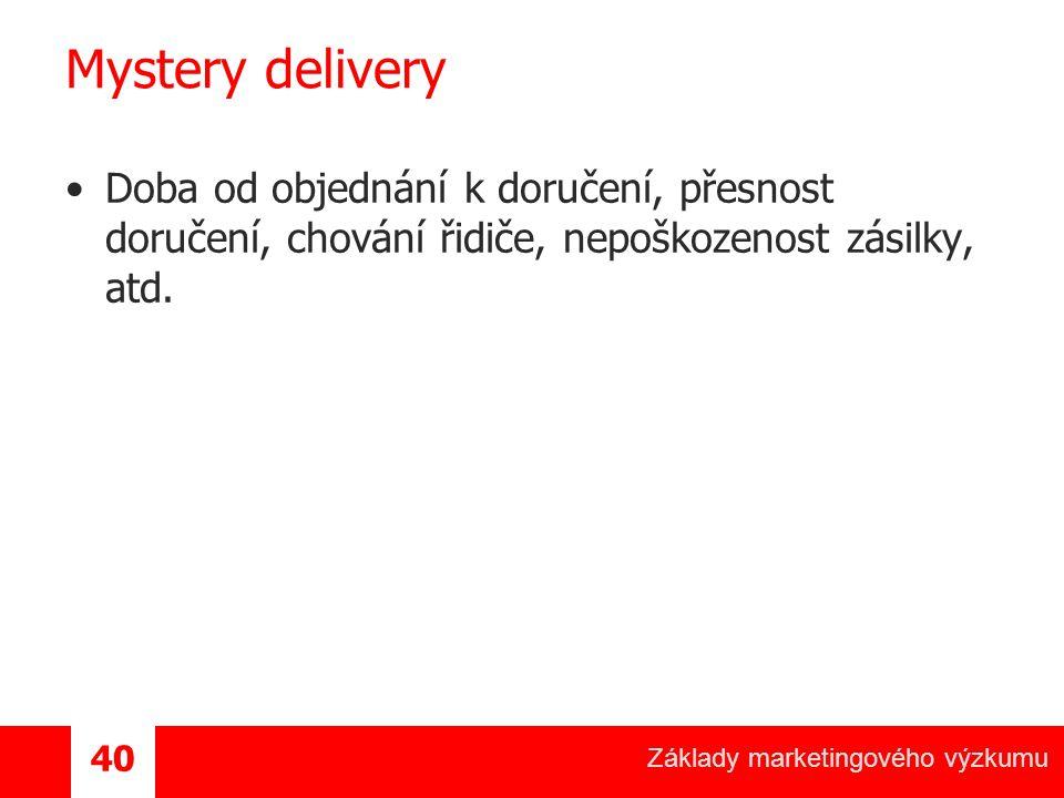 Mystery delivery Doba od objednání k doručení, přesnost doručení, chování řidiče, nepoškozenost zásilky, atd.