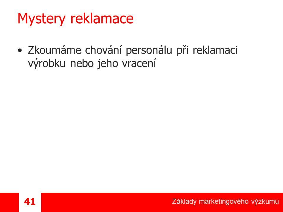 Mystery reklamace Zkoumáme chování personálu při reklamaci výrobku nebo jeho vracení