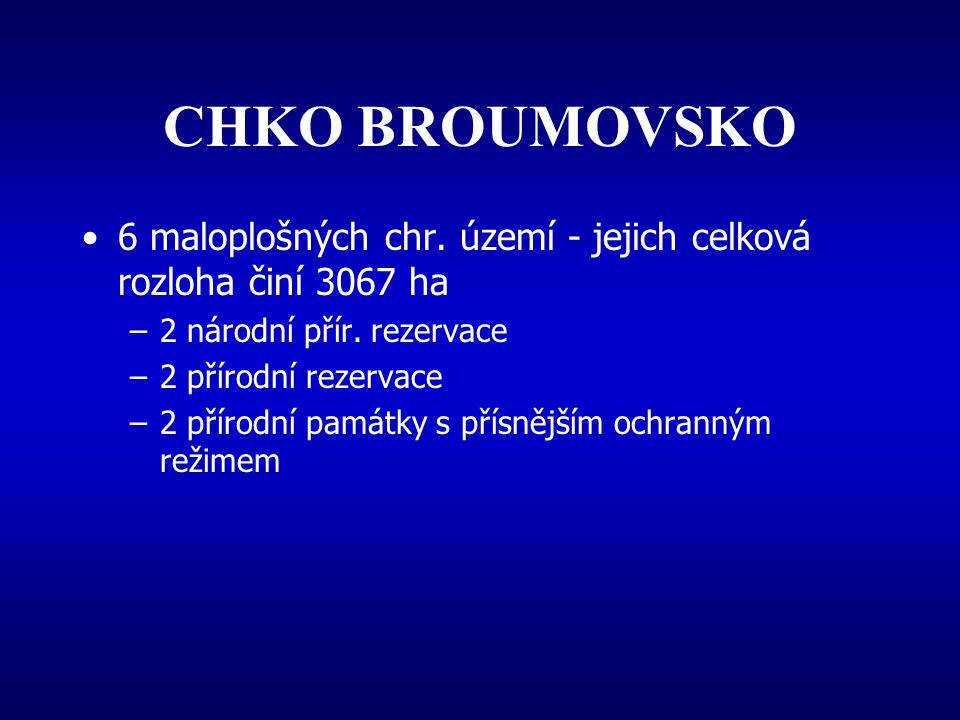 CHKO BROUMOVSKO 6 maloplošných chr. území - jejich celková rozloha činí 3067 ha. 2 národní přír. rezervace.