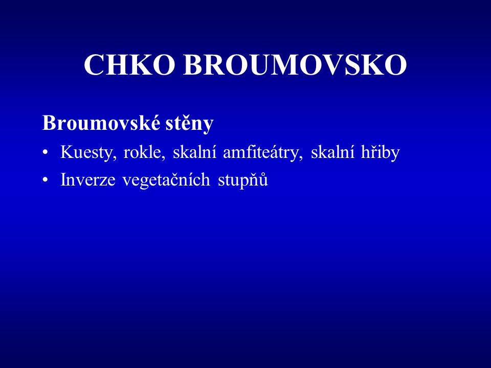 CHKO BROUMOVSKO Broumovské stěny
