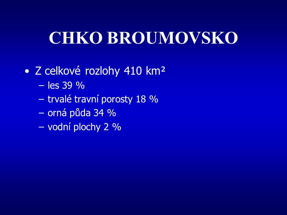 CHKO BROUMOVSKO Z celkové rozlohy 410 km² les 39 %