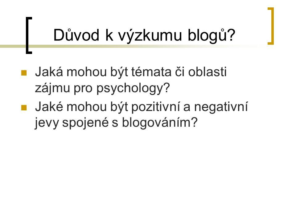 Důvod k výzkumu blogů. Jaká mohou být témata či oblasti zájmu pro psychology.