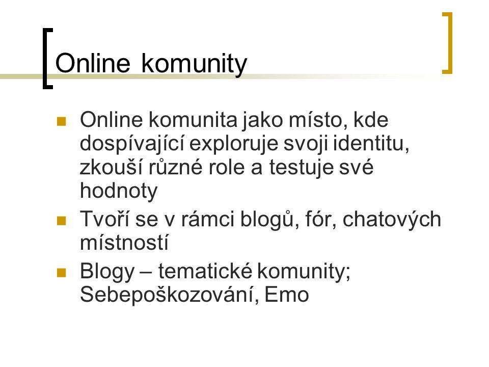 Online komunity Online komunita jako místo, kde dospívající exploruje svoji identitu, zkouší různé role a testuje své hodnoty.