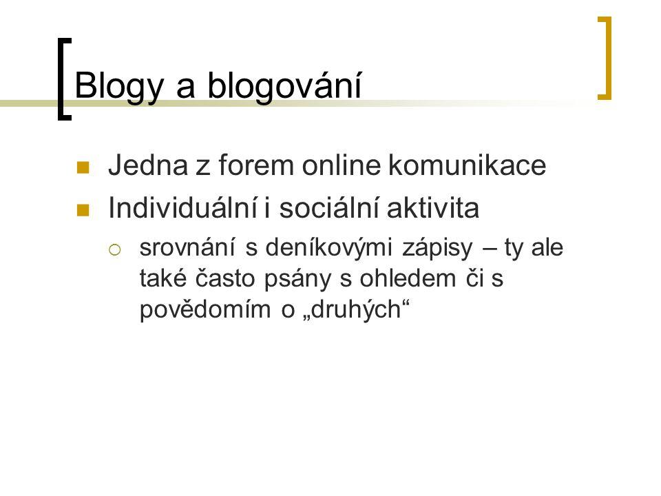 Blogy a blogování Jedna z forem online komunikace