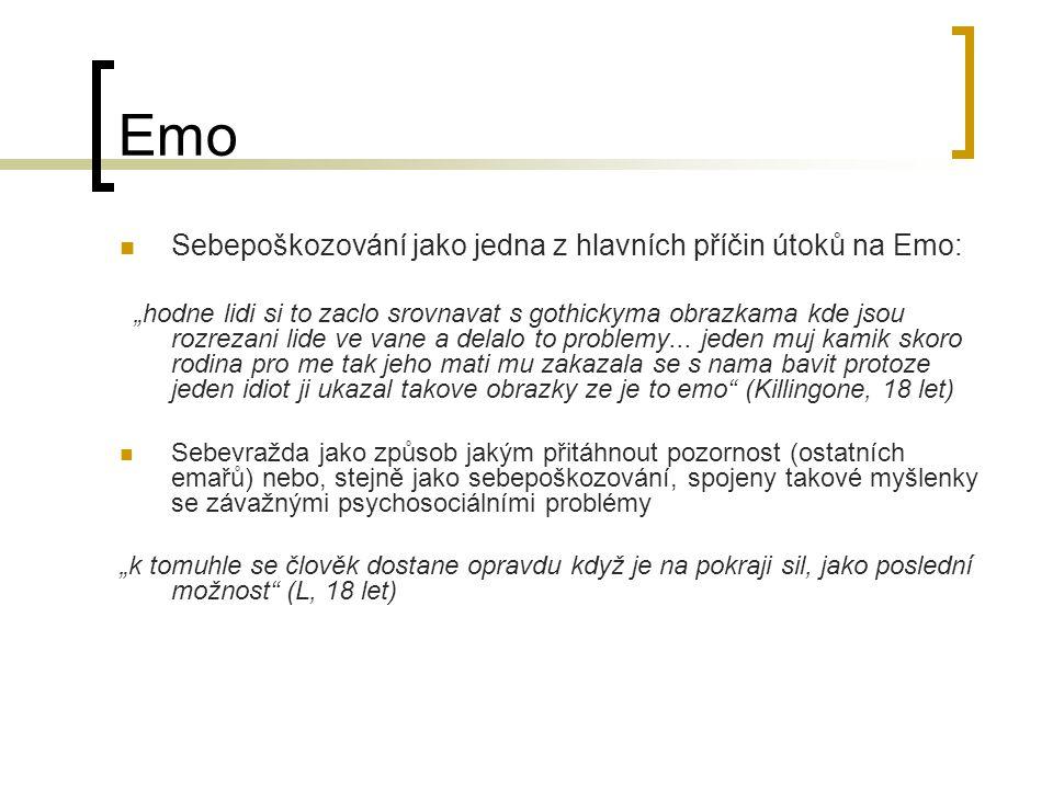 Emo Sebepoškozování jako jedna z hlavních příčin útoků na Emo: