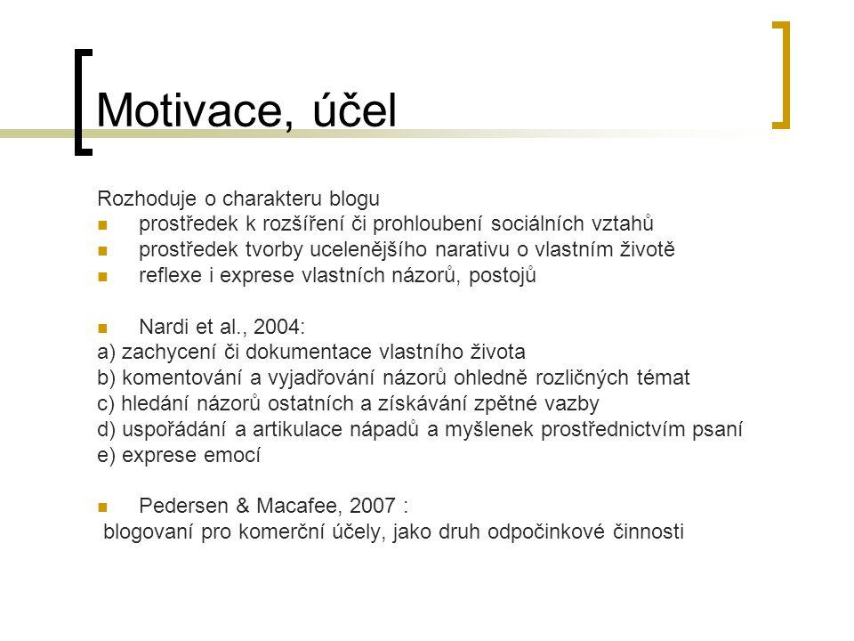 Motivace, účel Rozhoduje o charakteru blogu