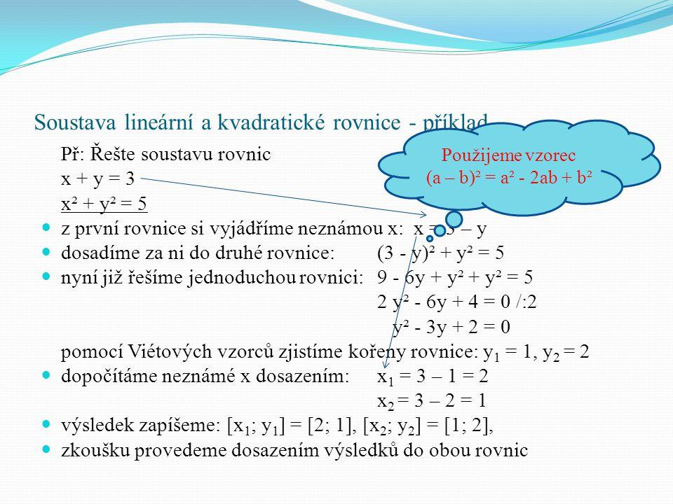 Soustava lineární a kvadratické rovnice - příklad