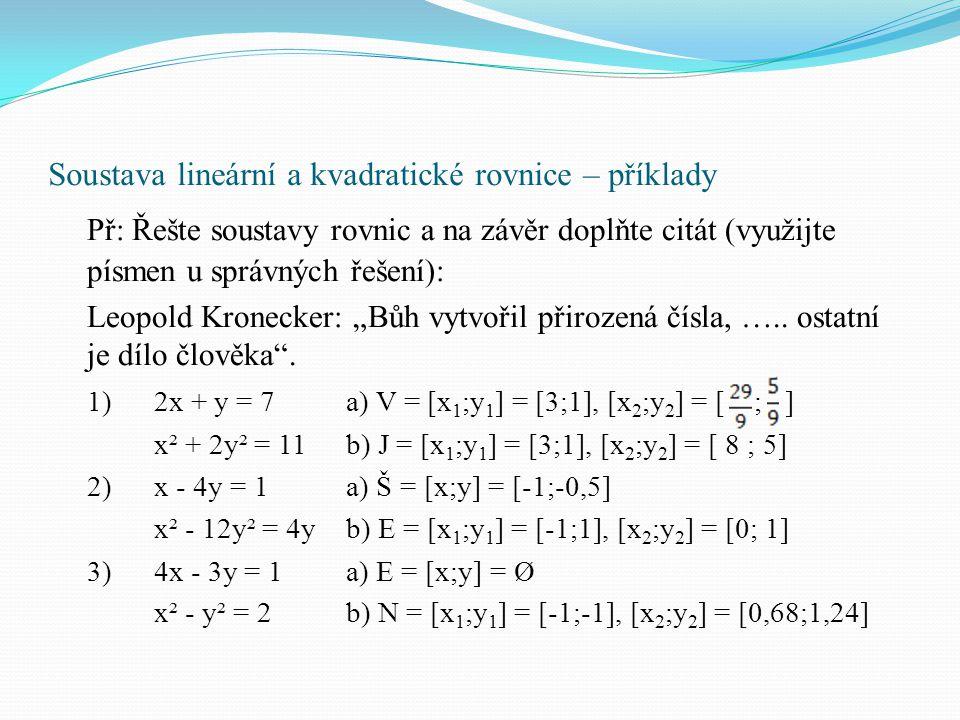 Soustava lineární a kvadratické rovnice – příklady