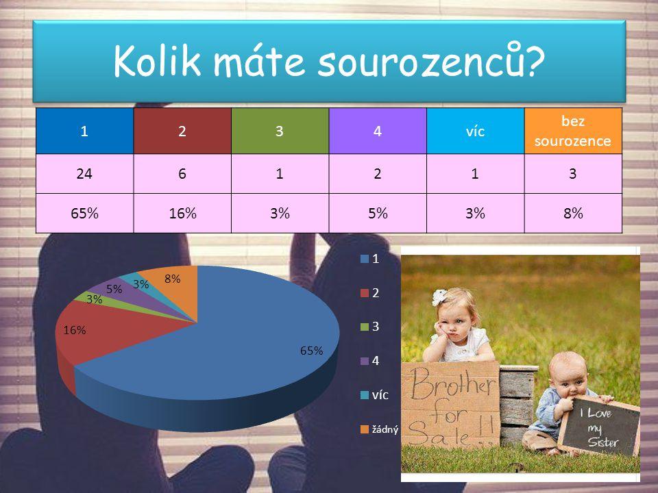 Kolik máte sourozenců 1 2 3 4 víc bez sourozence 24 6 65% 16% 3% 5%