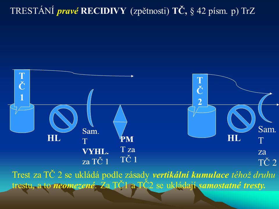 TRESTÁNÍ pravé RECIDIVY (zpětnosti) TČ, § 42 písm. p) TrZ