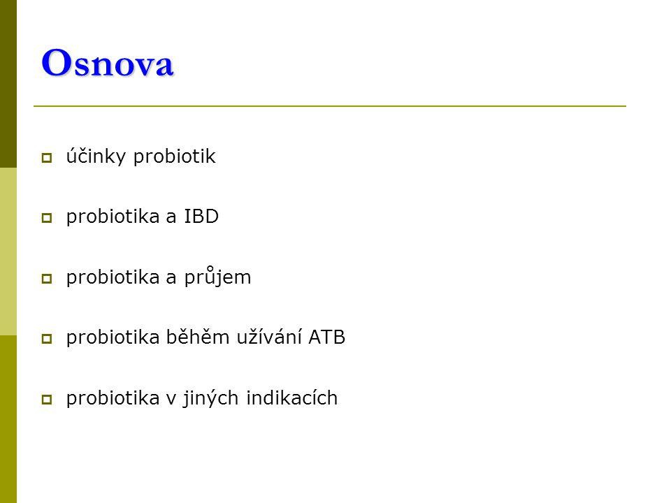 Osnova účinky probiotik probiotika a IBD probiotika a průjem
