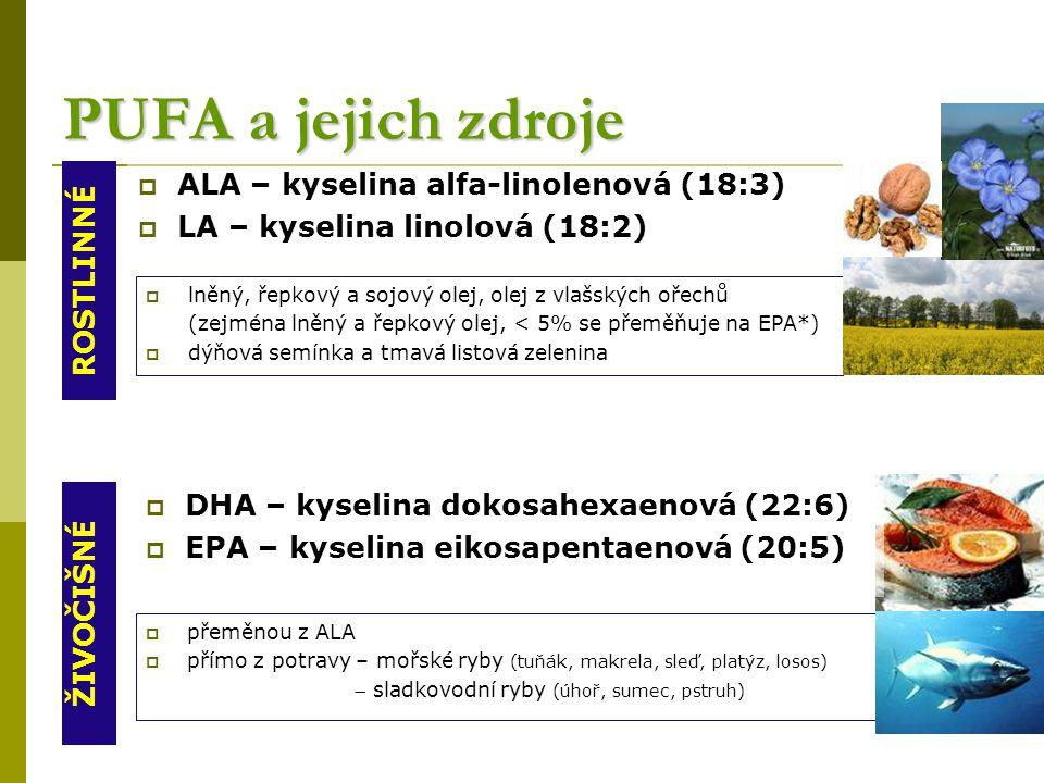 PUFA a jejich zdroje ALA – kyselina alfa-linolenová (18:3)