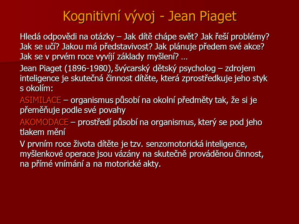 Kognitivní vývoj - Jean Piaget