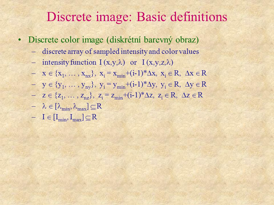 Discrete image: Basic definitions