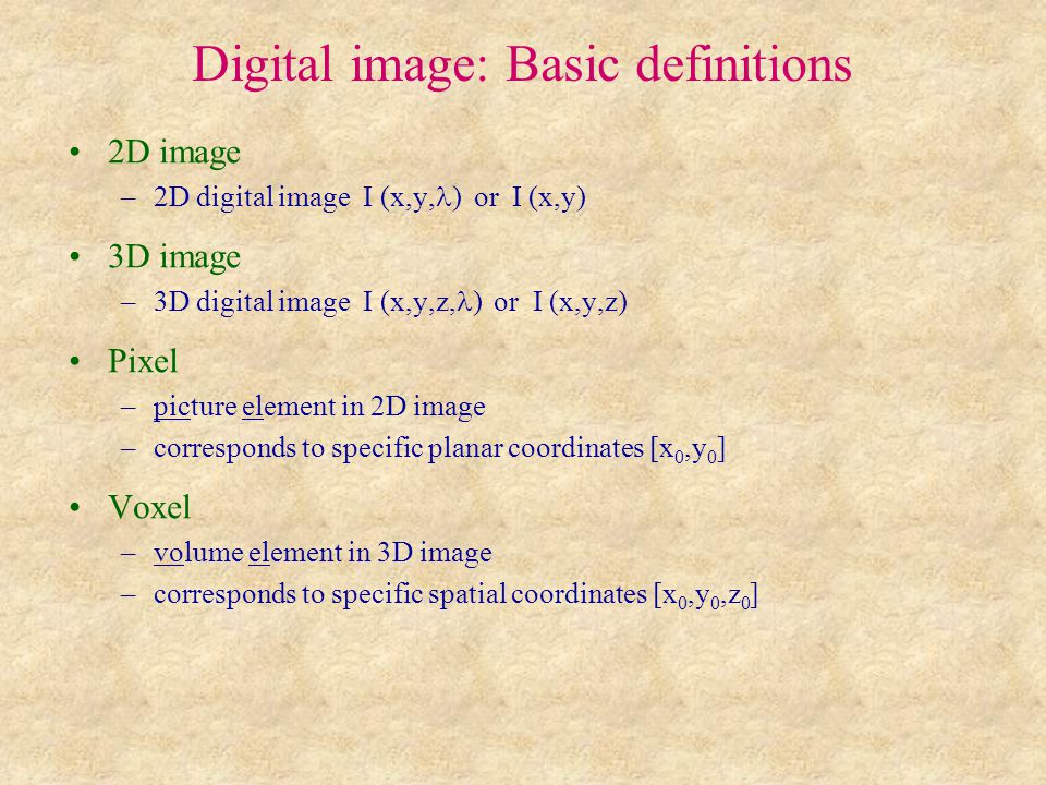 Digital image: Basic definitions