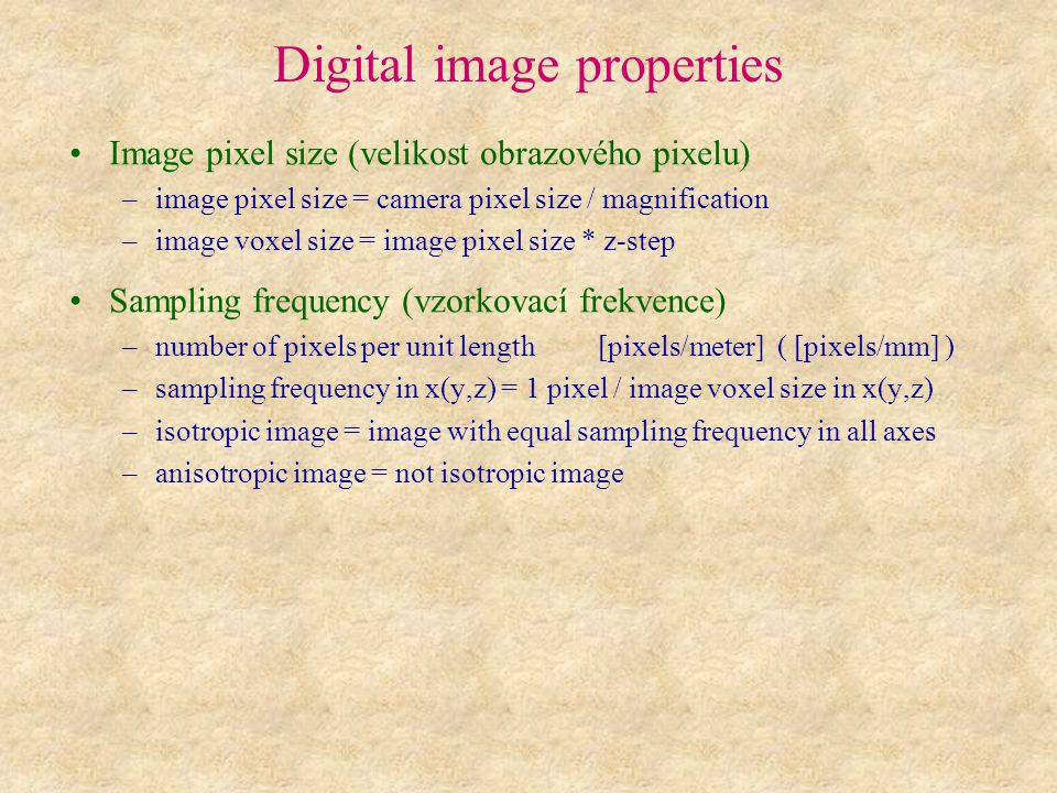 Digital image properties