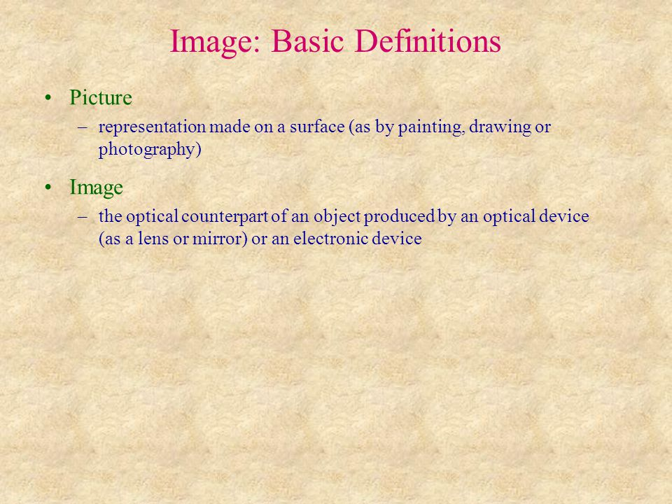 Image: Basic Definitions