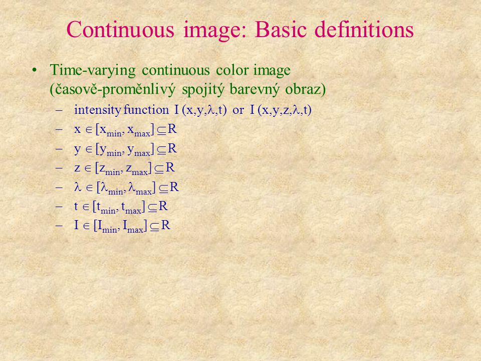 Continuous image: Basic definitions