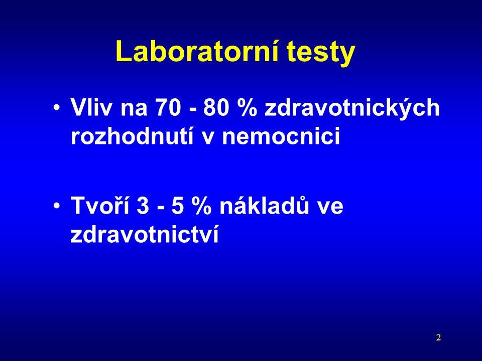 Laboratorní testy Vliv na 70 - 80 % zdravotnických rozhodnutí v nemocnici. Tvoří 3 - 5 % nákladů ve zdravotnictví.