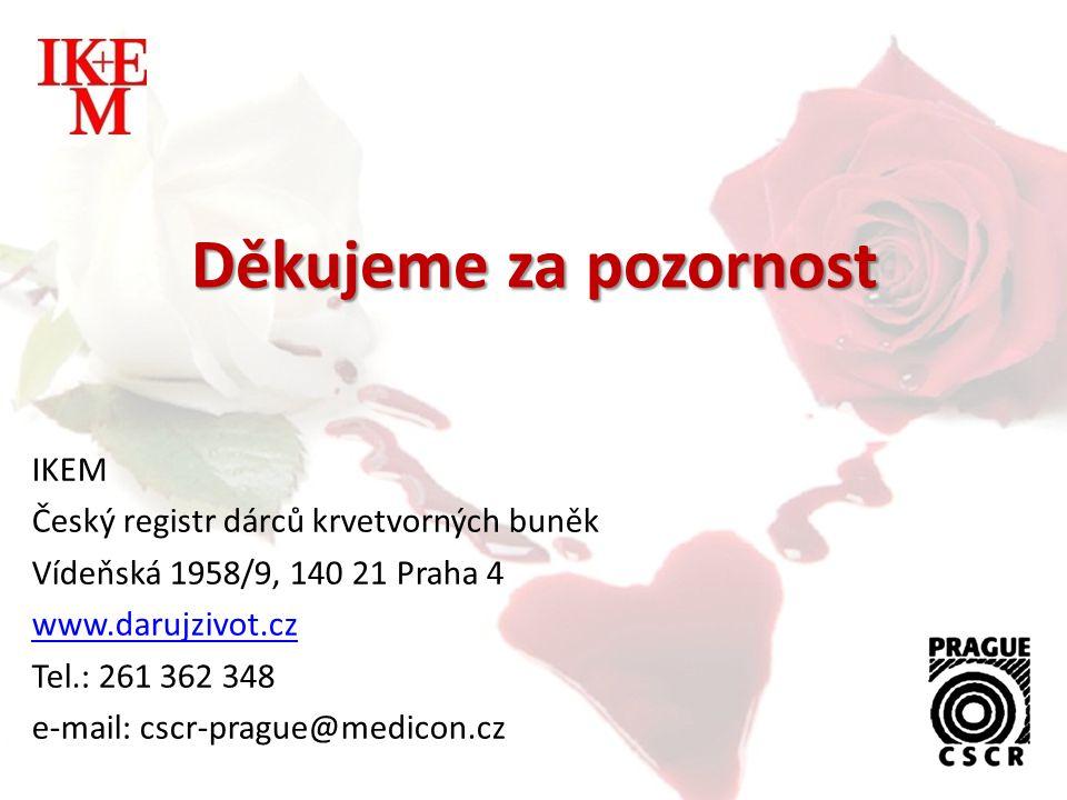 Děkujeme za pozornost IKEM Český registr dárců krvetvorných buněk