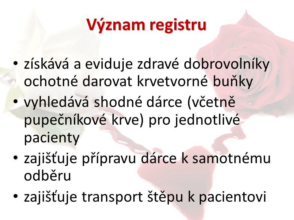 Význam registru získává a eviduje zdravé dobrovolníky ochotné darovat krvetvorné buňky.