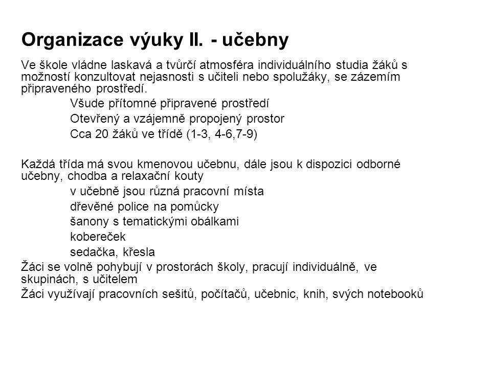 Organizace výuky II. - učebny
