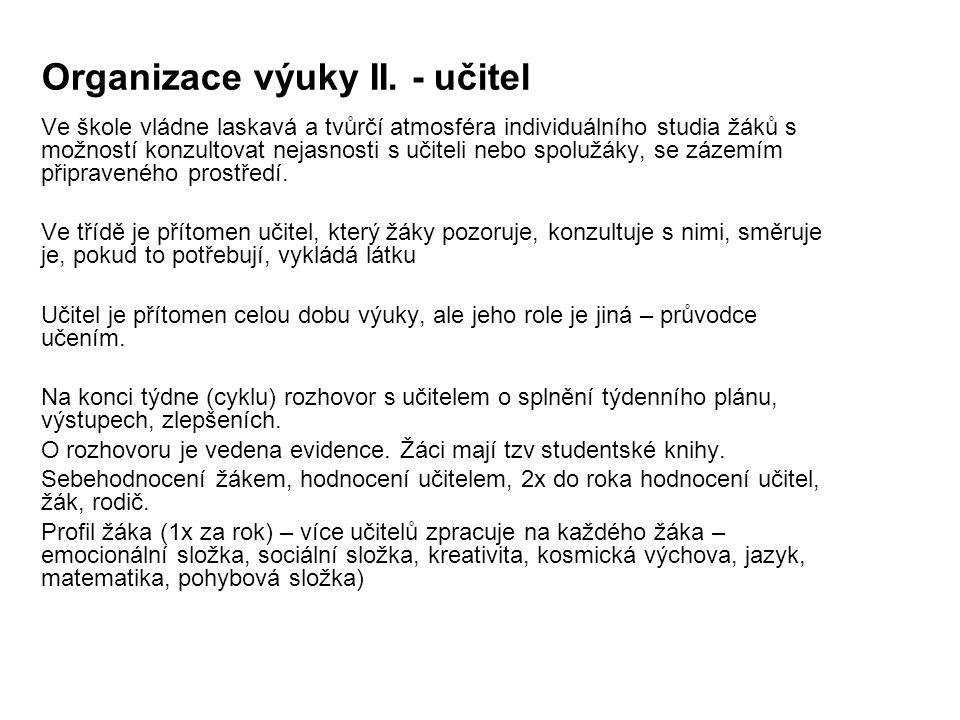 Organizace výuky II. - učitel