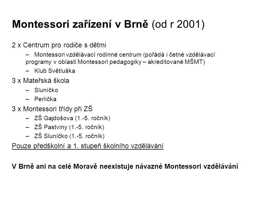 Montessori zařízení v Brně (od r 2001)