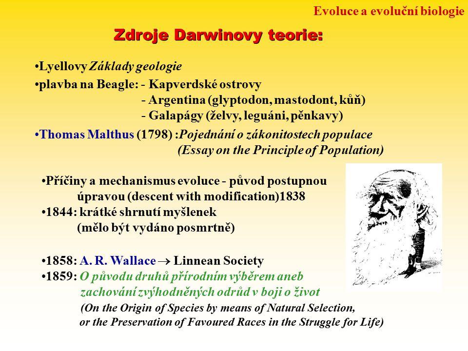 Zdroje Darwinovy teorie: