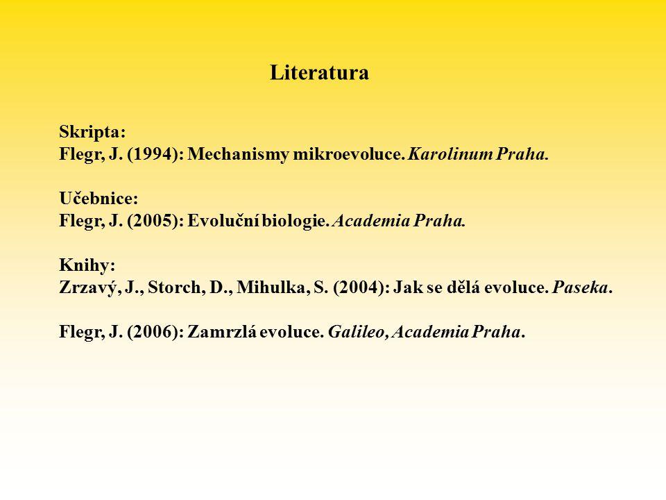 Literatura Skripta: Flegr, J. (1994): Mechanismy mikroevoluce. Karolinum Praha. Učebnice: Flegr, J. (2005): Evoluční biologie. Academia Praha.