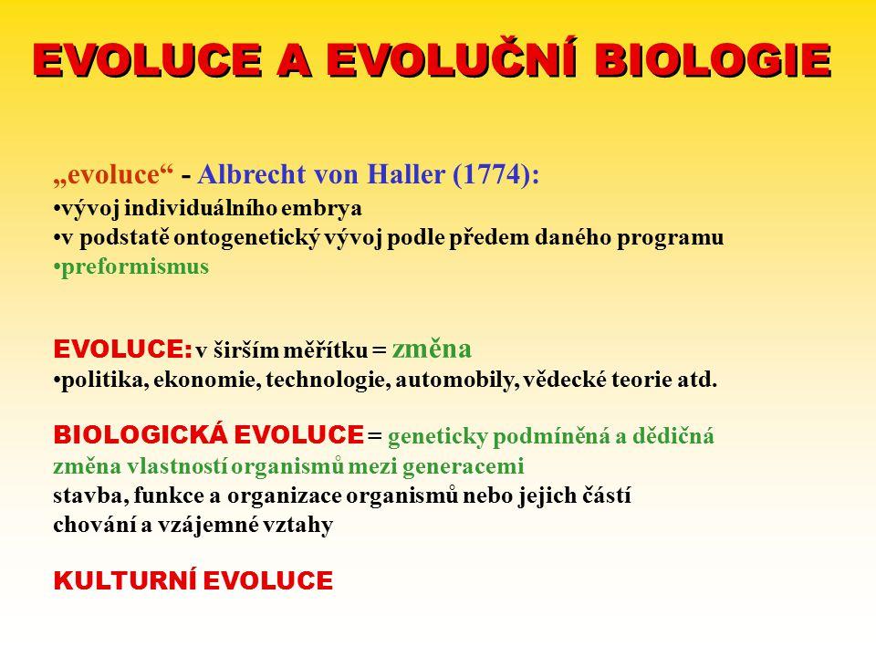 EVOLUCE A EVOLUČNÍ BIOLOGIE