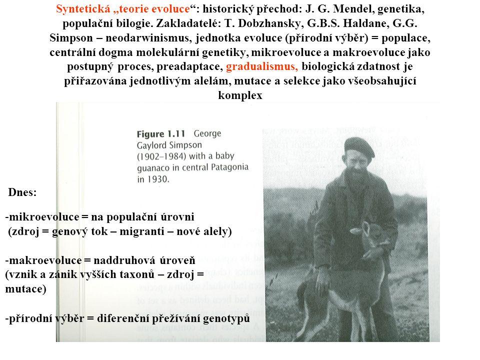 """Syntetická """"teorie evoluce : historický přechod: J. G"""
