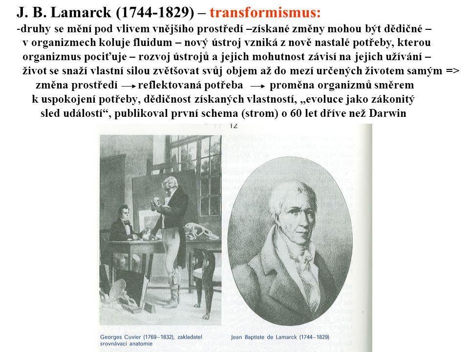 J. B. Lamarck (1744-1829) – transformismus:
