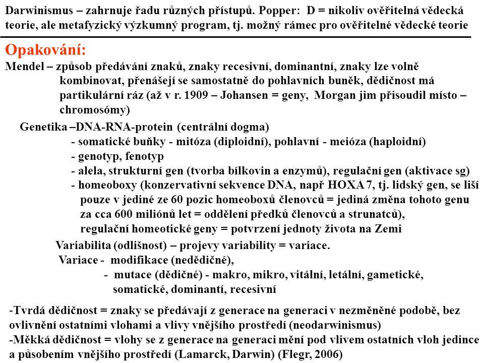 Darwinismus – zahrnuje řadu různých přístupů