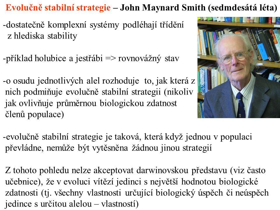 Evolučně stabilní strategie – John Maynard Smith (sedmdesátá léta)