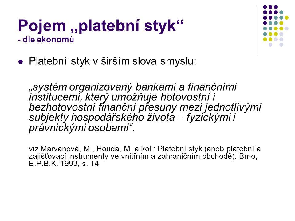 """Pojem """"platební styk - dle ekonomů"""