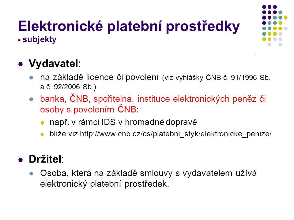Elektronické platební prostředky - subjekty