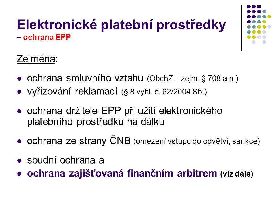 Elektronické platební prostředky – ochrana EPP
