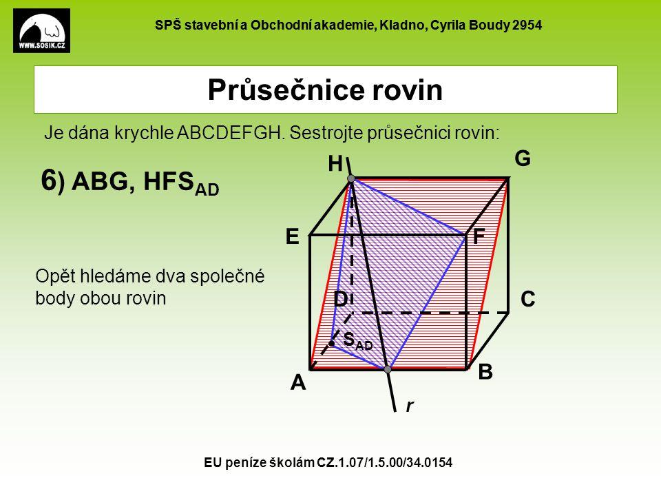 Průsečnice rovin 6) ABG, HFSAD G H E F D C B A