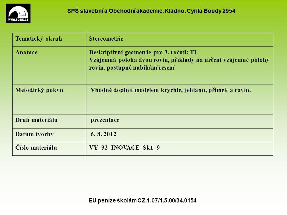 Deskriptivní geometrie pro 3. ročník TL