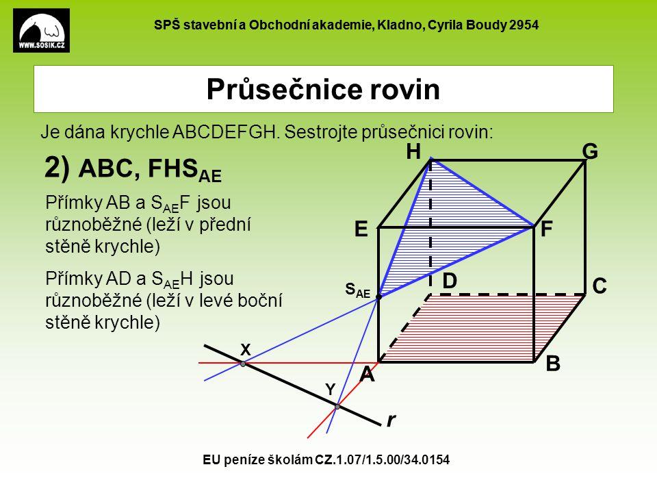 Průsečnice rovin 2) ABC, FHSAE A B C D E F G H r