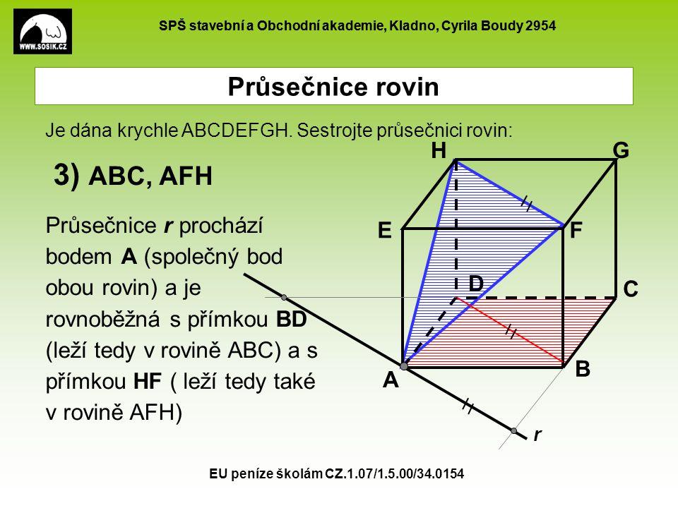 3) ABC, AFH Průsečnice rovin A B C D E F G H
