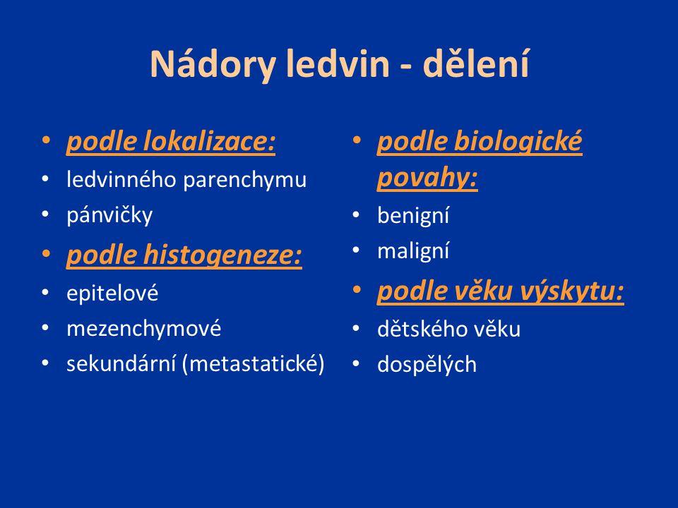 Nádory ledvin - dělení podle lokalizace: podle histogeneze:
