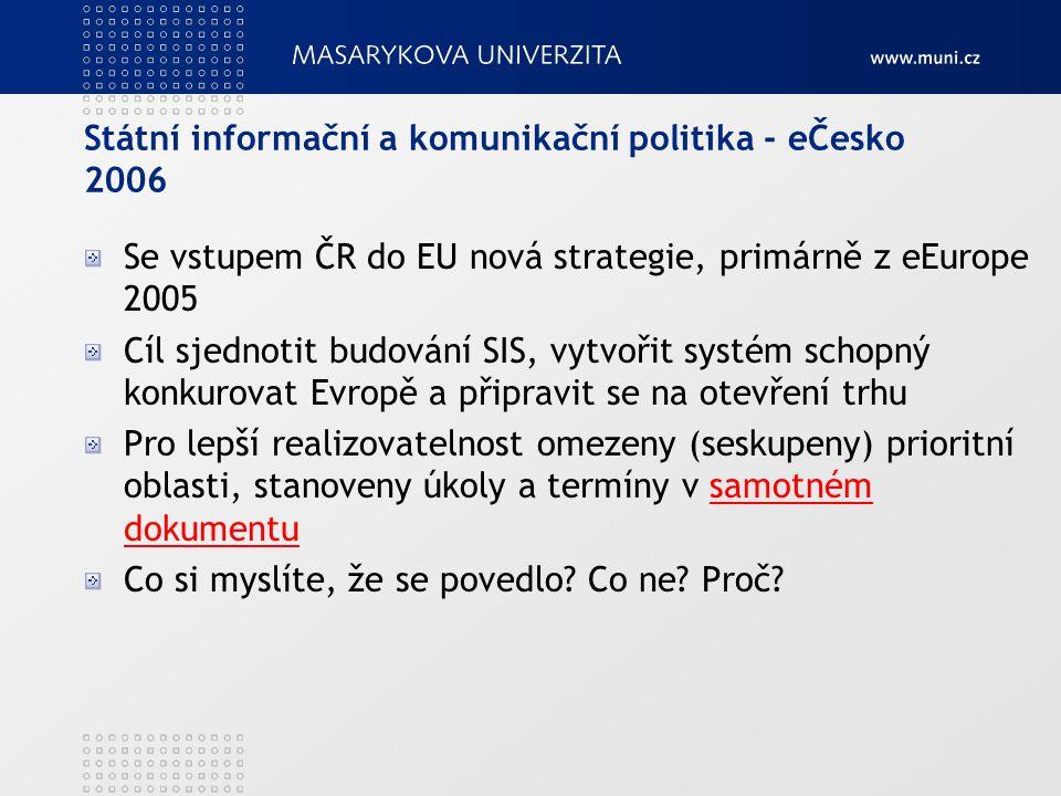 Státní informační a komunikační politika - eČesko 2006