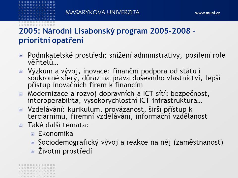 2005: Národní Lisabonský program 2005-2008 – prioritní opatření