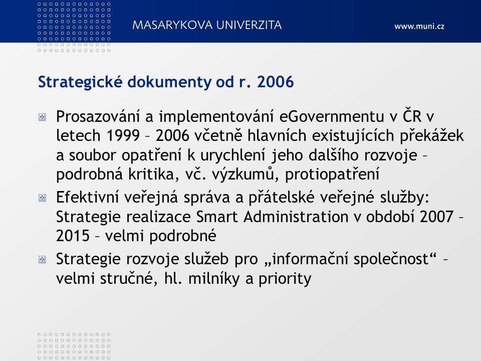 Strategické dokumenty od r. 2006