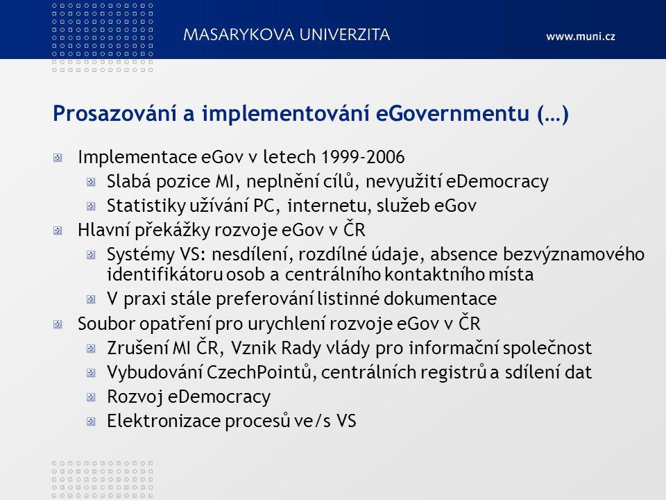 Prosazování a implementování eGovernmentu (…)