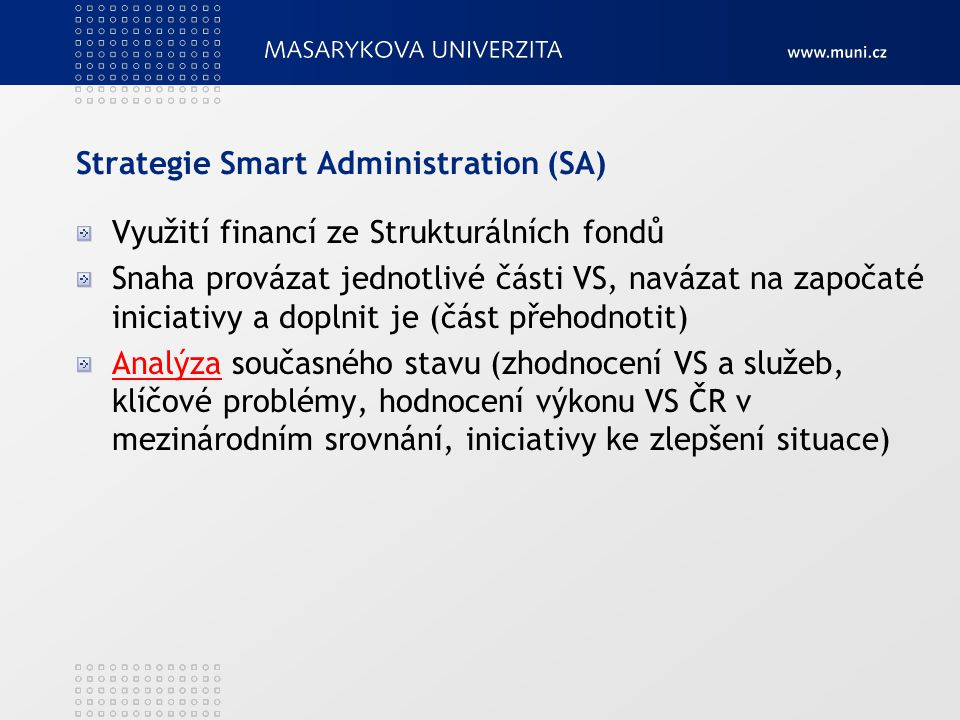 Strategie Smart Administration (SA)