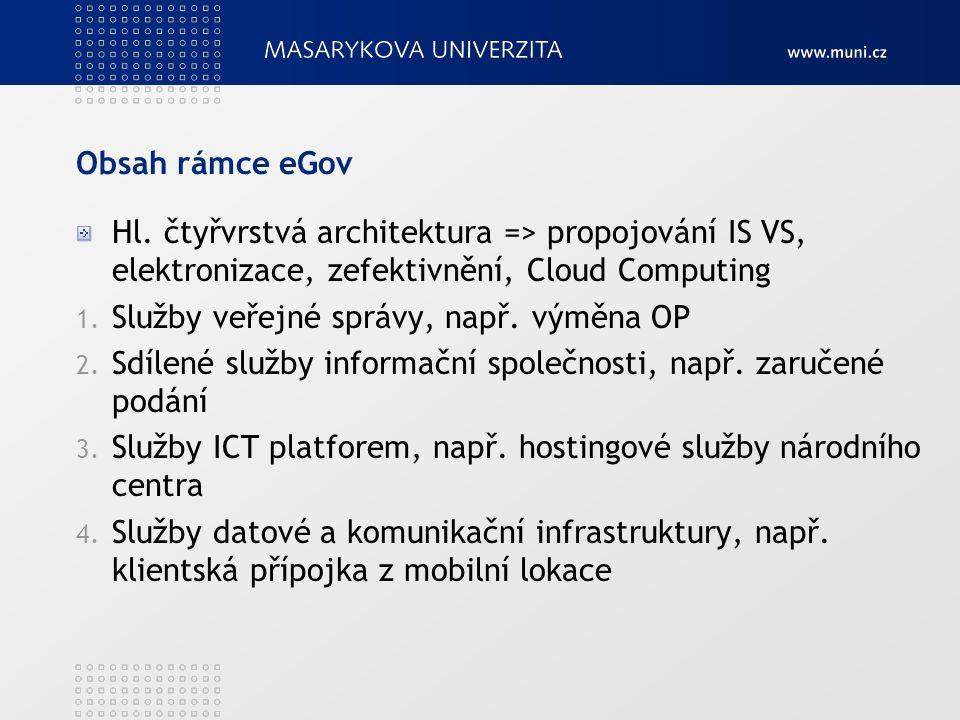 Obsah rámce eGov Hl. čtyřvrstvá architektura => propojování IS VS, elektronizace, zefektivnění, Cloud Computing.